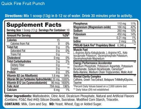 Prolab Quick Fire Fruit Punch Ingredients
