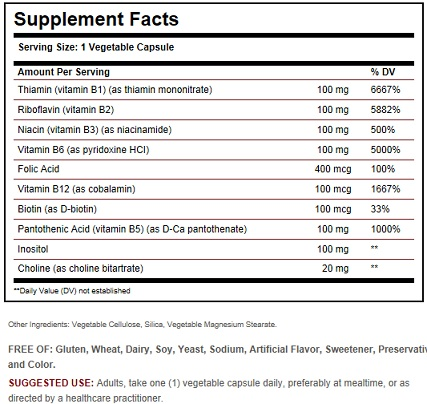 solgar vitamin b 100 ingredients