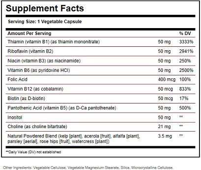 Solgar b Complex Ingredients