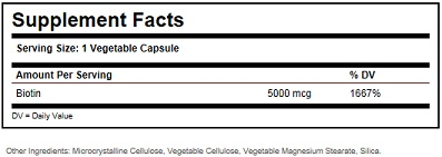 Solgar Biotin 5000 mcg ingredients