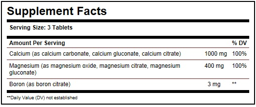 Solgar Calcium Magnesium Boron Ingredients