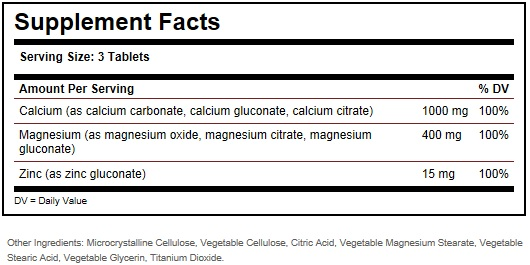 Solgar Calcium Magnesium Zinc Ingredients
