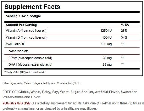 Solgar Cod Liver Oil Ingredients