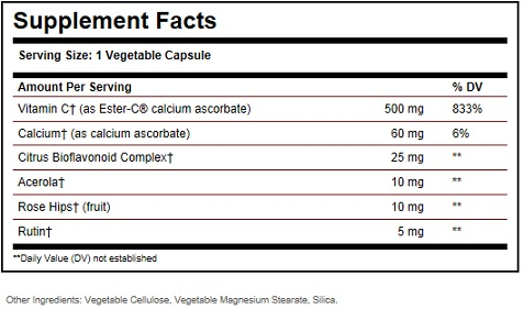 Solgar Ester C 500 Vitamin C Ingredients