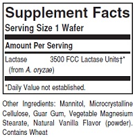 Solgar Lactase 3500 Ingredients Label