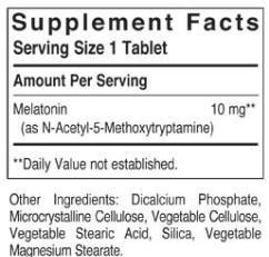 Solgar Melatonin 10mg Ingredients Label