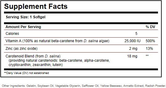 Solgar Oceanic Beta Carotene Ingredients