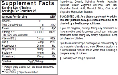 Solgar Spirulina Ingredient Label
