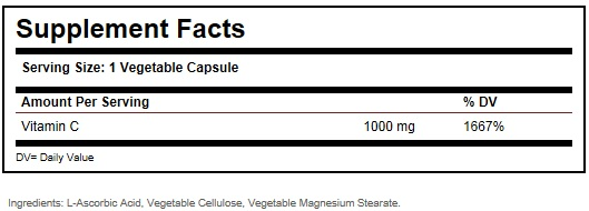 Solgar Vitamin C 1000 mg Ingredients