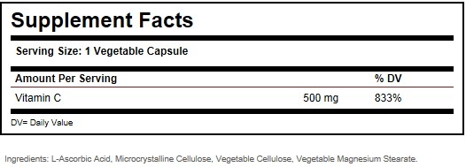 Solgar Vitamin C 500 mg Ingredients