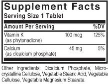 Solgar vitamin k ingredients label