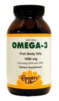 Country Life Omega-3 Fish Oil 1000mg, 100 softgels