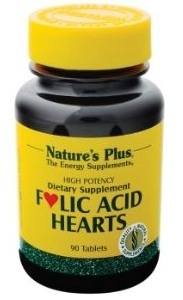 Nature's Plus Folic Acid Hearts 90 Tablets - Folic Acid, Vit. B-6 & B12