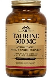 Solgar Taurine 500 mg, 50, 100, or 250 Caps