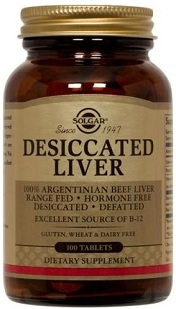 Solgar Desiccated Liver - 100 or 250 Tablets
