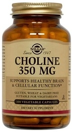Solgar Choline Supplement 350 mg 100 Vegicaps