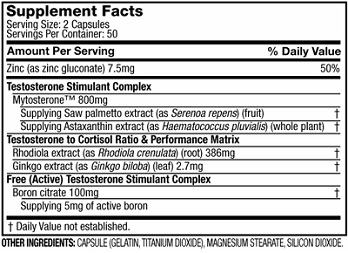Muscletech Alpha Test Ingredients