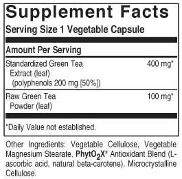 solgar green tea leaf extract label