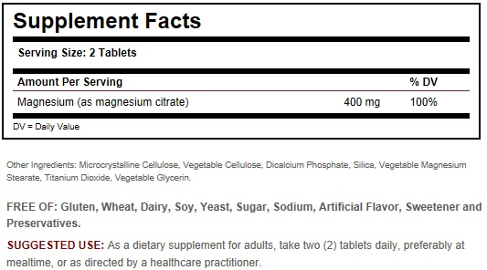 Solgar Magnesium Citrate Ingredients