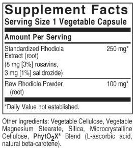 Solgar Rhodiola Ingredients