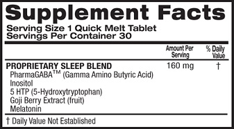 Top Secret Sleep Formula Ingredient Label